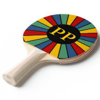 RAYS BUTTON I   your Photo, Text, Monogram Ping-Pong Paddle