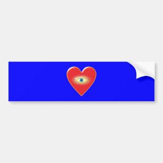 Rays corazón ojo estrella fulgor star eye heart etiqueta de parachoque
