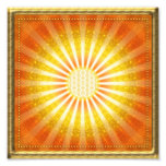 Rays of hope - gold framework square photo art