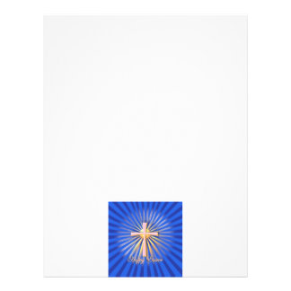 Rays of Light from the Religious Cross On Blue Full Color Flyer