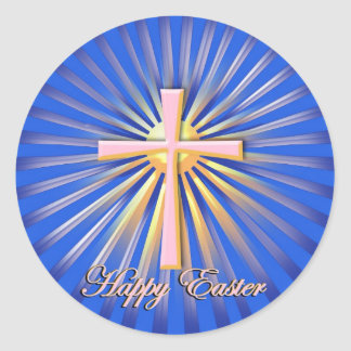 Rays of Light from the Religious Cross On Blue Sticker