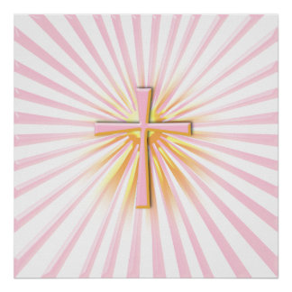 Rays of Light from the Religious Cross (On White) Poster