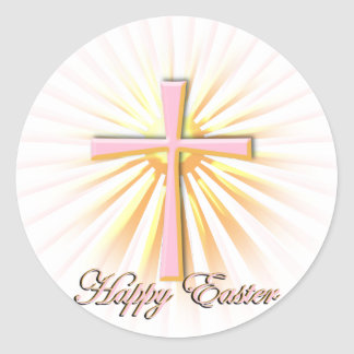 Rays of Light from the Religious Cross On White Round Sticker