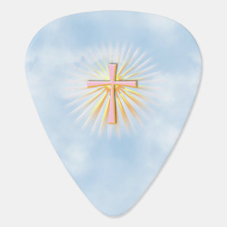 Rays of Light from the Religious Cross (W/Clouds) Guitar Pick