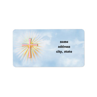 Rays of Light from the Religious Cross (W/Clouds) Label