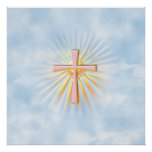 Rays of Light from the Religious Cross (W/Clouds) Print