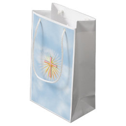 Religious easter gift bags zazzle rays of light from the religious cross wclouds small gift bag negle Choice Image