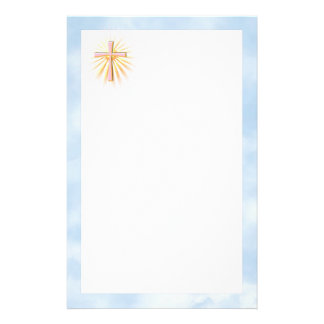 Rays of Light from the Religious Cross (W/Clouds) Stationery