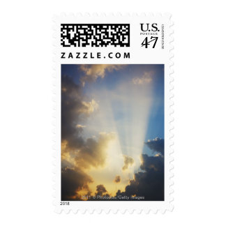 Rays Of Light Shining Through The Clouds Postage