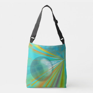 Rays on Planet Abstract Design in Turquoise Crossbody Bag