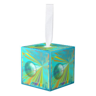 Rays on Planet Abstract Design in Turquoise Cube Ornament