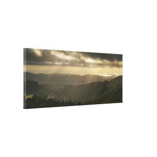 Rays over Pacific Ocean Stretched Canvas Prints