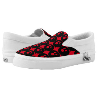 Rayshine GHOST™ Black & Red Slip Ons Printed Shoes