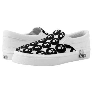 Rayshine GHOST™ White & Black Slip Ons Printed Shoes