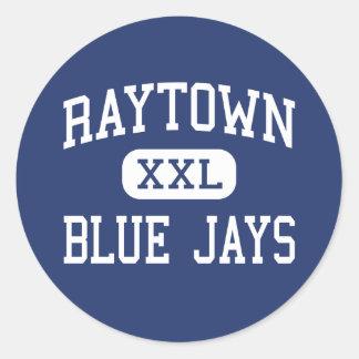 Raytown - arrendajos azules - alto - Raytown Etiquetas Redondas