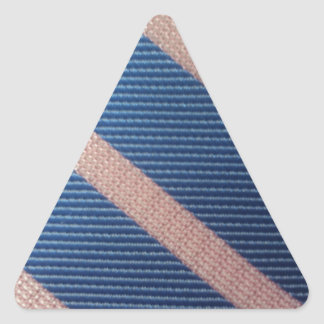 Rayures Bleu / Rose Personnalisable Triangle Sticker
