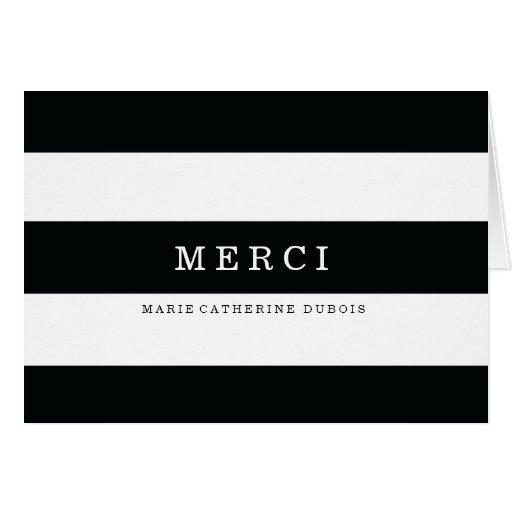 Rayures Noires Modernes Merci Cartes Greeting Cards