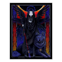 Rayvnwolf Magical Wolf Guardian Angel Poster