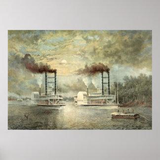Raza 1859 del barco de vapor de Mississippi Póster