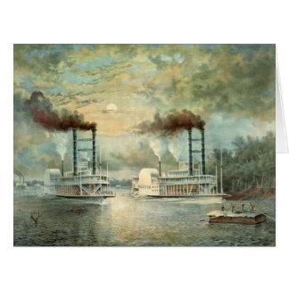 Raza 1859 del barco de vapor de Mississippi Tarjeta De Felicitación Grande