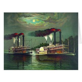 Raza 1883 del barco de vapor tarjeta de felicitación grande