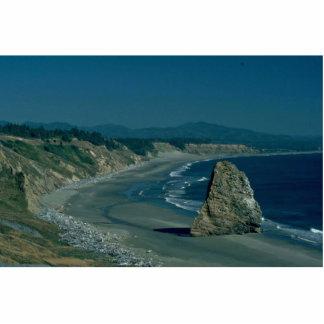Raza a la montaña de la playa fotoescultura vertical