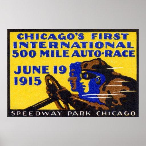 Raza auto 1915 de Chicago Póster