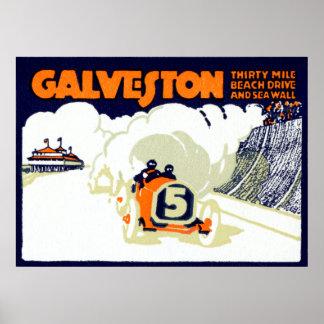 Raza auto 1920 de Galveston Póster