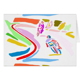 Raza colorida de la motocicleta tarjeta de felicitación