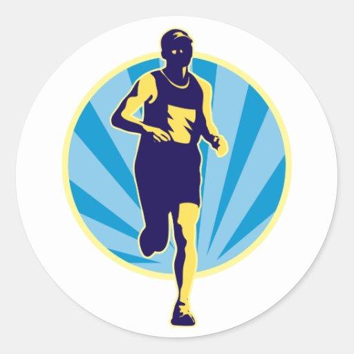 Raza corriente del corredor de maratón retra