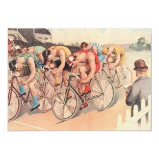 """Raza de bicicleta del dibujo de Litho del vintage Invitación 5"""" X 7"""""""
