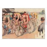 Raza de bicicleta del dibujo de Litho del vintage Felicitación