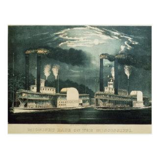 Raza de medianoche en el Mississippi, 1875 Postales