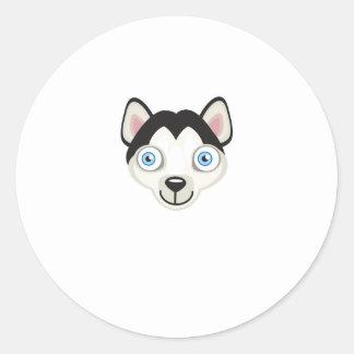 Raza del perro del husky siberiano - mi oasis del pegatina redonda