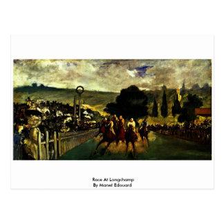 Raza en Longchamp de Manet Eduardo Tarjeta Postal
