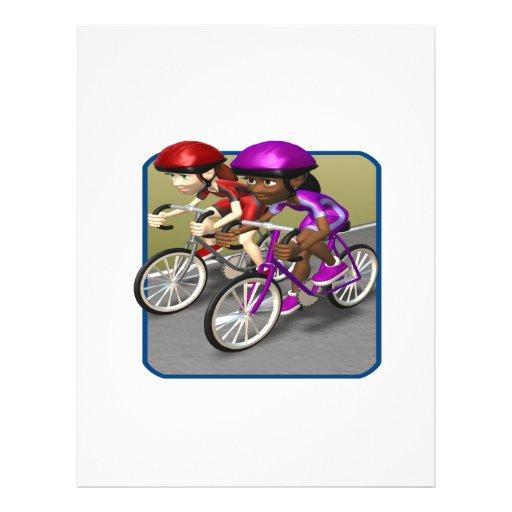 Raza para mujer de la bici tarjeta publicitaria