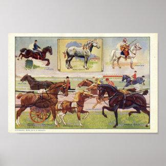 Razas 1912 de la impresión del caballo del vintage poster