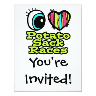"""Razas de saco brillantes de la patata del amor del invitación 4.25"""" x 5.5"""""""