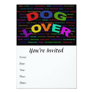 """Razas del perro del amante del perro invitación 5"""" x 7"""""""