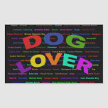 Razas del perro del amante del perro rectangular pegatinas
