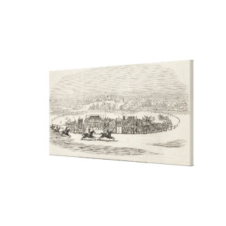 Razas en el cercado del trigo Hamlet de Col Thom Impresión En Lona Estirada