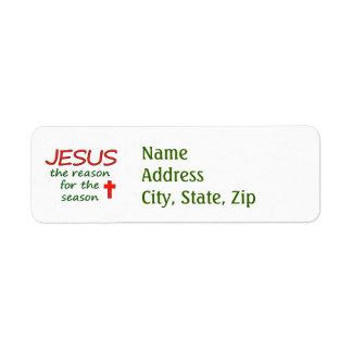 Razón de Jesús de la estación Etiquetas De Remite