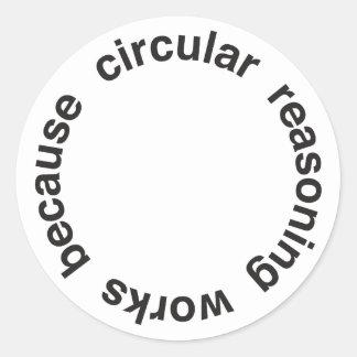 Razonamiento circular pegatina redonda