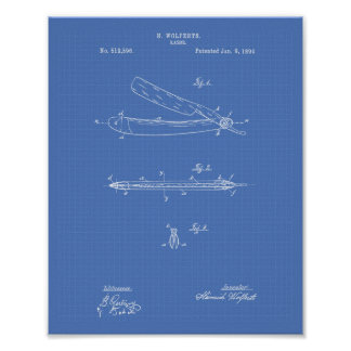 Razor 1894 Patent Art Blueprint Poster