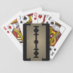 "Razor blade sharp gold cover playing cards<br><div class=""desc"">Funny cover of razor blade for fun play times and hard games. Metallic shine vintage old look.</div>"