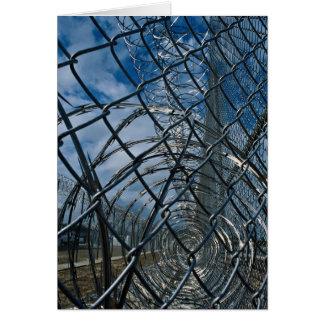 Razor wire, prison greeting card