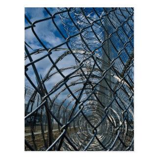 Razor wire, prison postcard