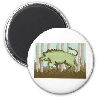 Razorback Wild Pig Boar Attacking Magnet