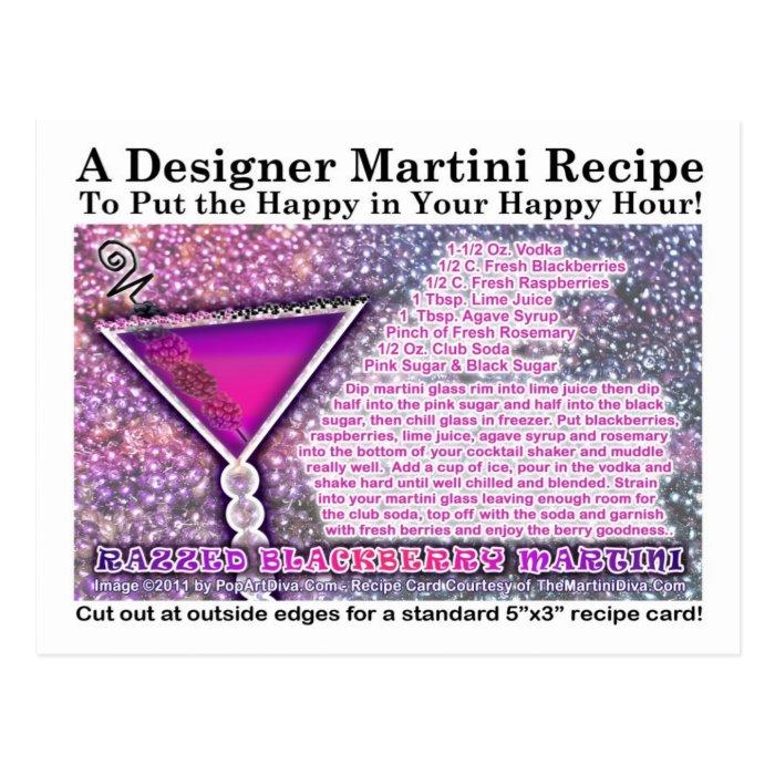 Razzed Blackberry Martini Recipe Postcard