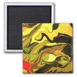 Razzle Dazzle art in yellow gold & brown magnet